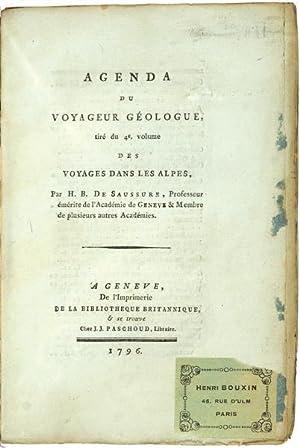 Agenda du Voyageur géologue, tiré du 4e.: Saussure, Horace Bénédict