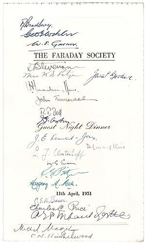 Menu.] Guest Night Dinner. 11th April, 1951.: Faraday Society.