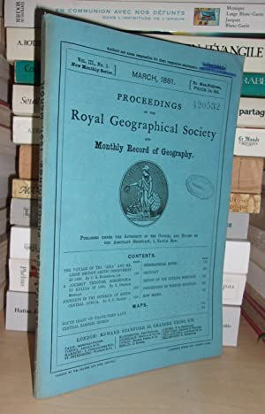 GEOGRAPHICAL SOCIETY & MONTHLY RECORD OF GEOGRAPHY : Vol. III, no. 3 - March 1881 : Edited By the...