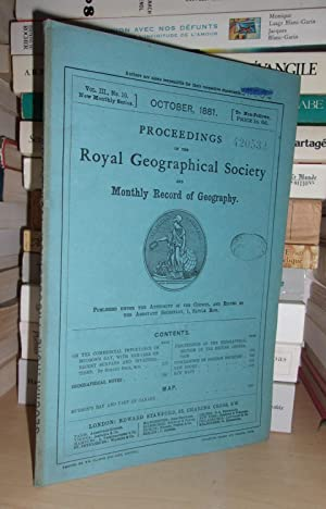 GEOGRAPHICAL SOCIETY & MONTHLY RECORD OF GEOGRAPHY : Vol. III, no. 10 - October 1881 : Edited By ...