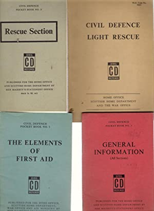 4 x Civil Defence Pocket Books : General Information/Elements of First Aid/Rescue Section...