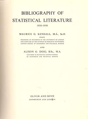 Bibliography of Statistical Literature 1950-1958: Kendal, Maurice G.