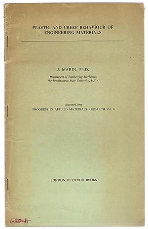 Plastic and Creep Behaviour of Engineering Materials: Marin, J.