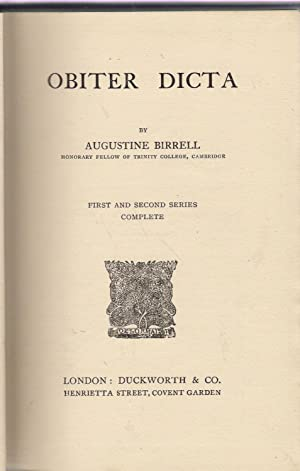 Obiter Dicta: First and Second Series Complete: Birrell, Augustine