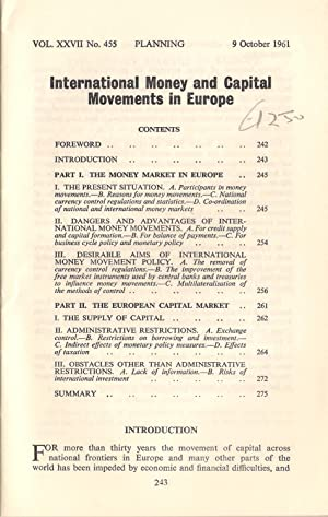 International Money and Capital Movements in Europe : PEP Vol XXVII No.455