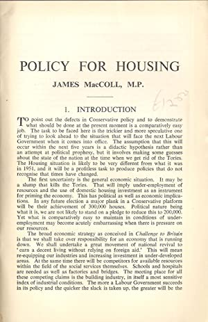 Policy for Housing : The Fabian Society Research Series No. 164: MacColl, James