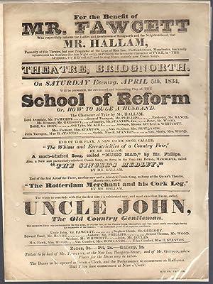 "Theatre Bridgenorth original letterpress Playbill - ""School of Reform"" & ""Uncle ..."