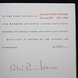SELECTED POEMS: NEW AND OLD, 1923-1966 (Signed, Numbered Edition): Robert Penn Warren