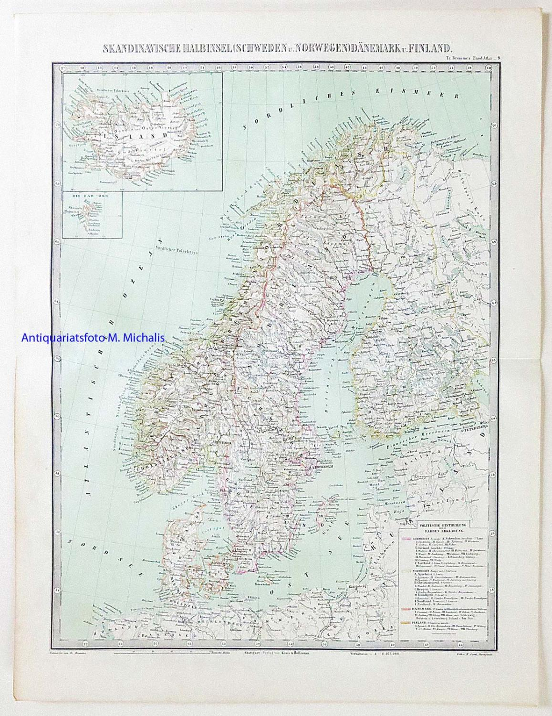 Karte Norwegen Dänemark.Skandinavische Halbinsel Schweden Und