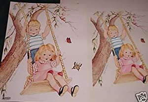 "ORIGINAL CHILDREN'S BOOK ART, ""LITTLE BOY & GIRL ON SWING"": ORIGINAL CHILDREN'S ..."