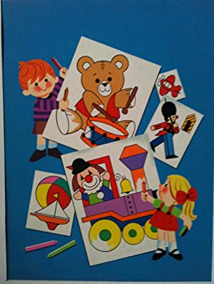 TOYS TO COLOR ORIGINAL CHILDREN'S BOOK COVER ART Circa late 1950 s or early 1960's   TEDDY BEAR, ...