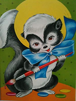 ORIGINAL CHILDREN'S BOOK COVER ART Circa late 1950 s  or early 1960's   SKUNK WITH PAINTBRUSH