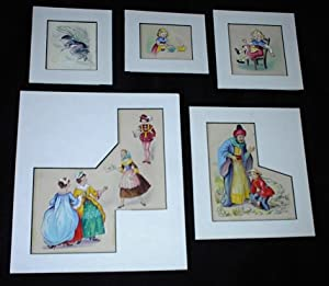 ORIGINAL CHILDREN'S BOOK ART, Lot of 5 ORIGINAL CHILDREN'S FAIRY TALE BOOK paintings + Book.