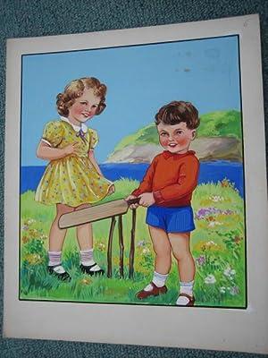 "ORIGINAL CHILDREN'S BOOK ART, Set of 9 ORIGINAL PAINTINGS for ""TEA-TIME"" +Book: ..."