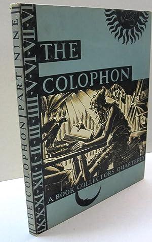 The Colophon; A Book Collectors' Quarterly PART NINE: Elmer Adler