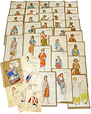 Theatre Set - Archive of 64 Manuscript Pencil Drawings and Gouache Paintings of Pirate Costumes D...