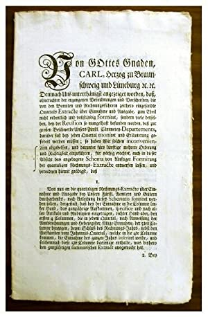Rare German Tax Accounting Instructions, Issued in the form of a Broadside