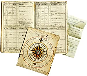 Manuscript Journal - Nautical Log with Compass Drawing