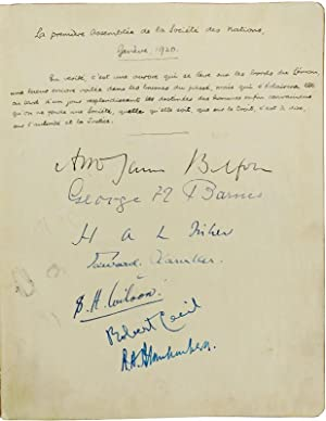 Album of Autographs from First Geneva Meeting Attendees, Containing 34 Original Signatures of the...
