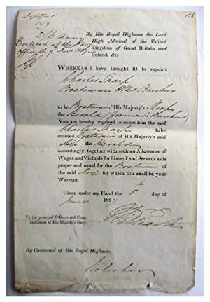 Official Royal Navy document dated June 5th 1827, signed in the original hand of William IV, whom...