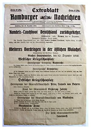 Rare Original Broadside Announcing the Return of the Civilian German U-Boat 'Deutschland' from it...