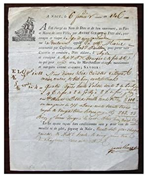 French Cargo Receipt of Olive Oil Transport in France, Dated 6 February 1816.