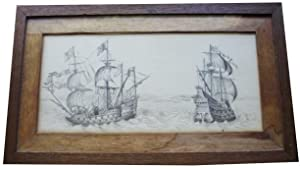 Manuscript Sketch Drawing of Royal Navy Galleon 'Ark Royal', Galleon of Sir Walter Raleigh, toget...