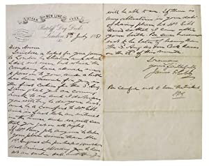 Signed Letter by James Foote Gibb, Affluent Shipwright and Partner of Gibb and Hutchinson Firm.
