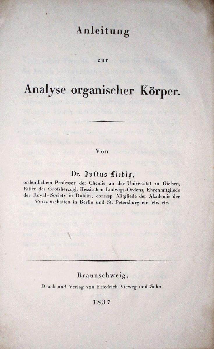 Anleitung zur Analyse organischer Körper (with the rare wallchart ...