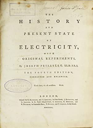 James Prescott Joule's copy bearing his signature: The History and Present State of Electricity, ...