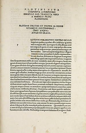 Opera]. Prohemium Marsilii Ficini Florentini in Plotinum: PLOTINUS [PLOTIN]