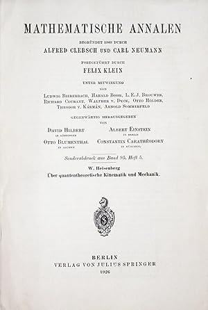 Ueber quantentheoretische Kinematik und Mechanik: HEISENBERG, Werner