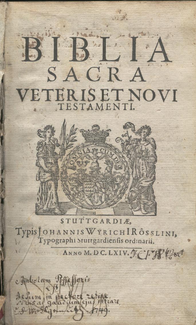 BIBLIA SACRA. Veteris et Novi Testamenti. Prophetae Omnes. Novum Jesu Christi, Domini Nostri, ...