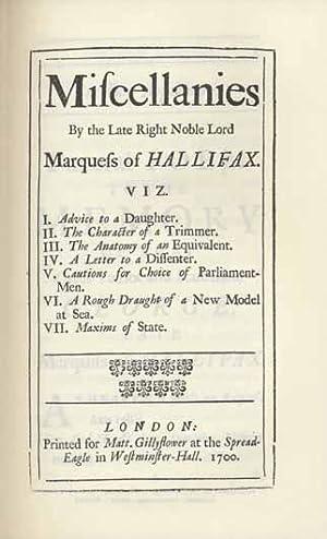 Miscellanies.: Savile, George, Marquess of Halifax