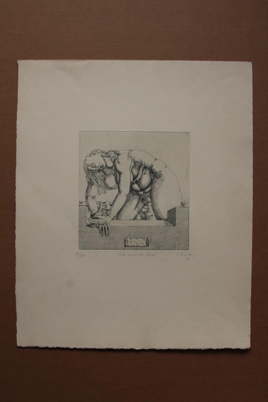 eva und der Apfel , Radierung, handsigniert, betitelt, nummeriert, datiert 70 gisela breitling 1939 Berlin signiert, betitelt eva und der Apfel , nummeriert 44/100, datiert 1970, Blattgröße 35 x 43 cm, Druckgröße: etwa 16,5 mal 17 cm, Blatt mit leichten lag