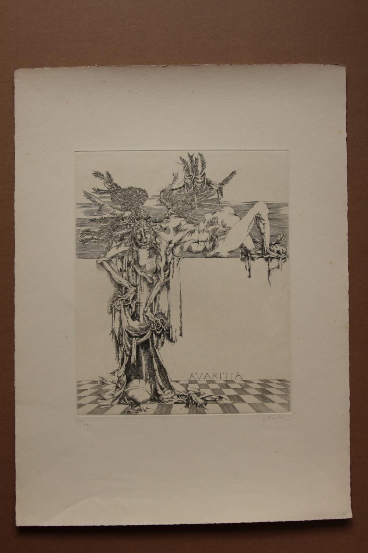 Avaratia , Radierung, handsigniert, nummeriert gisela breitling 1939 Berlin signiert, , nummeriert 37/40, Blattgröße 38 x 52 cm, Abbildungsgröße: etwa 24,5 mal 30 cm, aus der Reihe: Die Tugenden und die LasterBlatt mit leichte