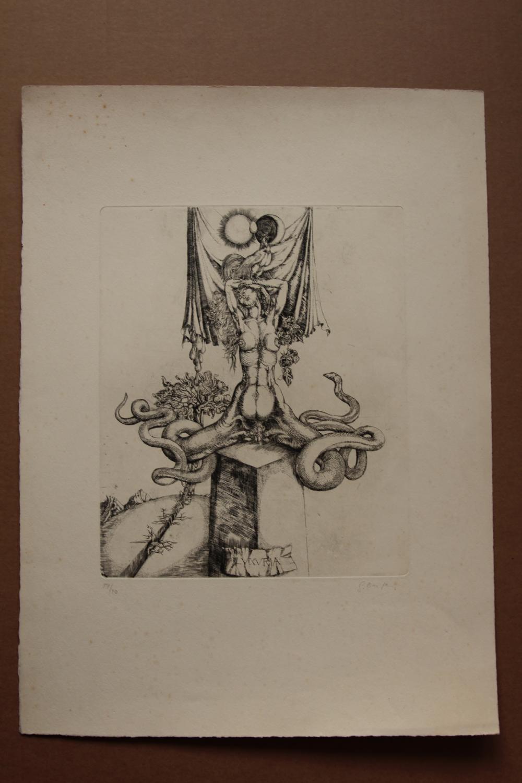 Luxuria , Radierung, handsigniert, nummeriert, gisela breitling 1939 Berlin signiert, nummeriert 37/40, Blattgröße 38 x 52 cm, Abbildungsgröße: etwa 24,5 mal 29,5 cm, aus der Reihe: Die Tugenden und die Laster, Blatt mit leich