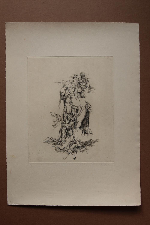 Stultitia , Radierung, handsigniert, nummeriert gisela breitling 1939 Berlin Very Good , signiert, nummeriert 37/40, Blattgröße 38 x 52 cm, Abbildungsgröße: etwa 24,5 mal 30 cm, Blatt mit leichten lagerungsspuren und außerhalb der abbild