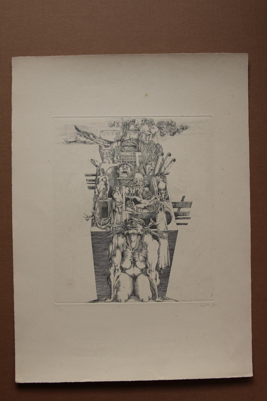 Obedient , handsigniert, Radierung, nummeriert gisela breitling 1939 Berlin signiert, nummeriert 37/40, Blattgröße 38 x 52 cm, Blatt aus der Reihe: Die Tugenden und die Laster Abbildungsgröße: etwa 24,5 mal 30 cm, Blatt mit le