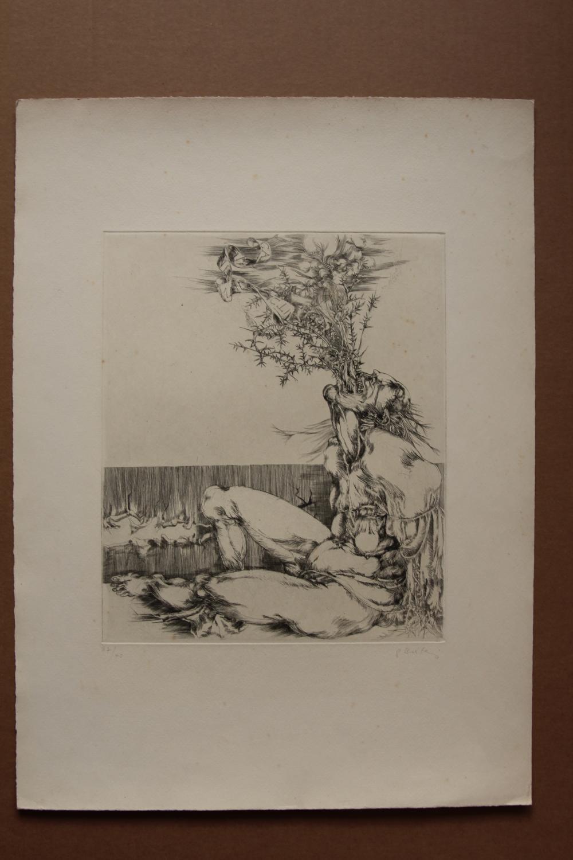 Calumnia , handsigniert, nummeriert, Radierung gisela breitling 1939 Berlin signiert, nummeriert 37/40, Blattgröße 38 x 52 cm, Blatt aus der Reihe: Die Tugenden und die Laster Abbildungsgröße: etwa 25 mal 30 cm, Blatt mit leic
