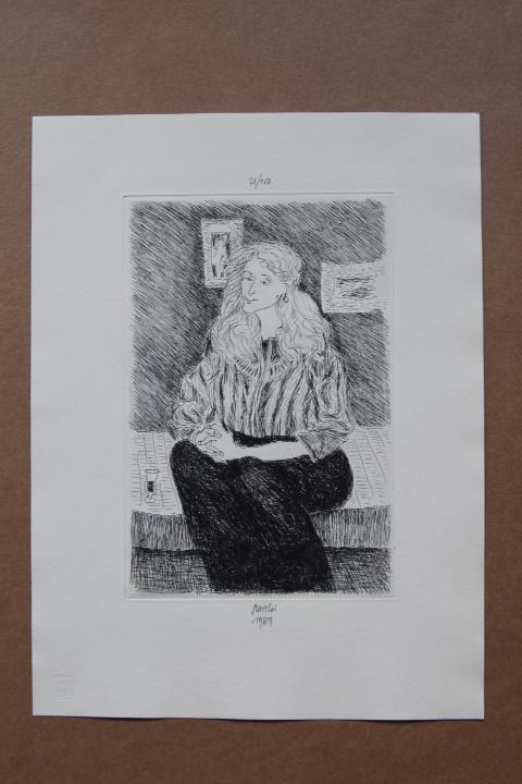 sitzende frau frauenporträt , radierung, handsigniert, datiert 1989, nummeriert gabriele mucchi (25. Juni 1899 in Turin - 10. Mai 2002 in Mailand)