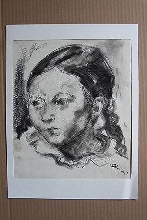 Mädchenporträt Kohle und Aquarell monogrammiert und datiert: hermann a. raddatz