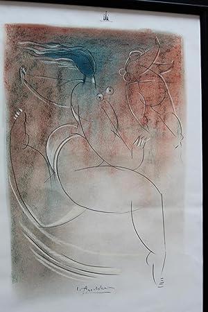 zwei nackte tänzerinnen farbzeichnung handsigniert: christian peschke 1946