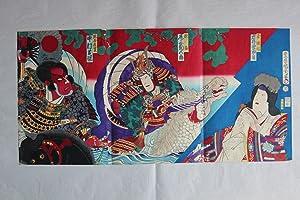 kumagai and atsumori kabuki, signiert toyohara kunichika: toyohara kunichika 1835