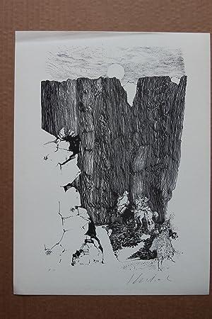 Ritt Lithografie, handsigniert, bezeichnet e.a. épreuves d'artiste: Peter Klitsch 1934