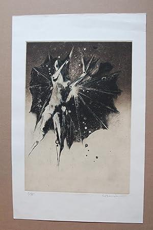 The bird man, Farbradierung, handsigniert und nummeriert: Soichi Bando 1937
