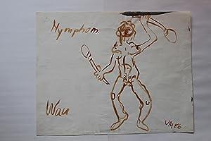 tuschezeichnung weiblicher akt, monogrammiert, datiert 1986 bezeichnet: Volker Mehner (15.