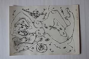schwebender weiblicher Akt, Federzeichnung/Aquarell; datiert 1989, monogrammiert: Volker Mehner (15.