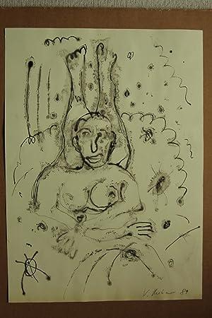 sich rollender weiblicher Akt, Federzeichnung/Aquarell; datiert 1989: Volker Mehner (15.