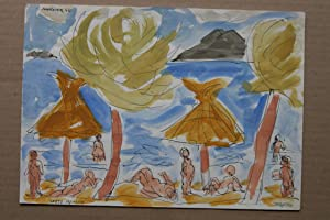 Dellgruen farbiges aquarell handsigniert bezeichnet mallorca 1966 puerto pollensa: Franz Dellgruen ...